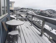 første sne